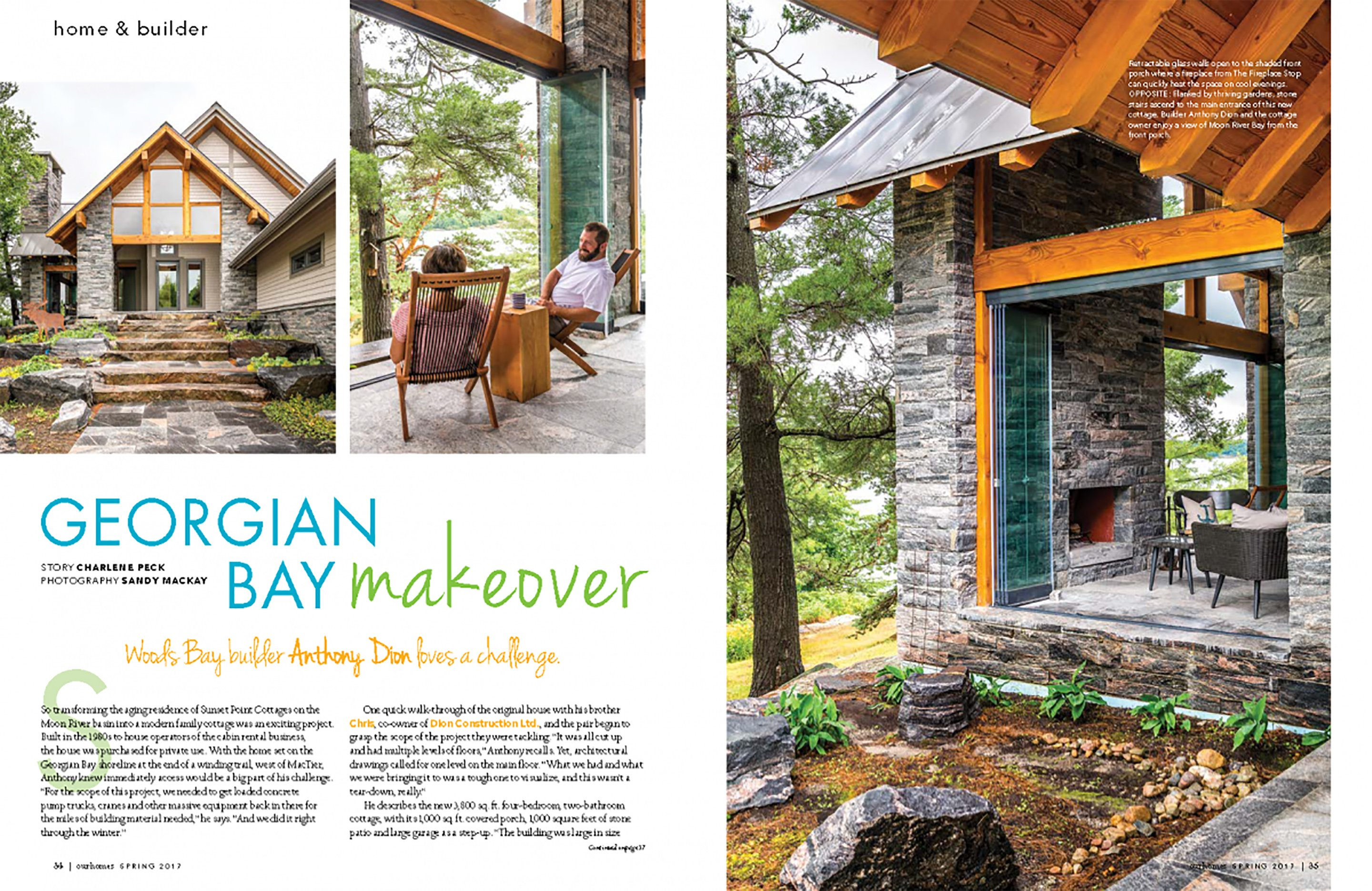 Georgian Bay Makeover, Our Homes magazine, retractable glass walls, Lumon