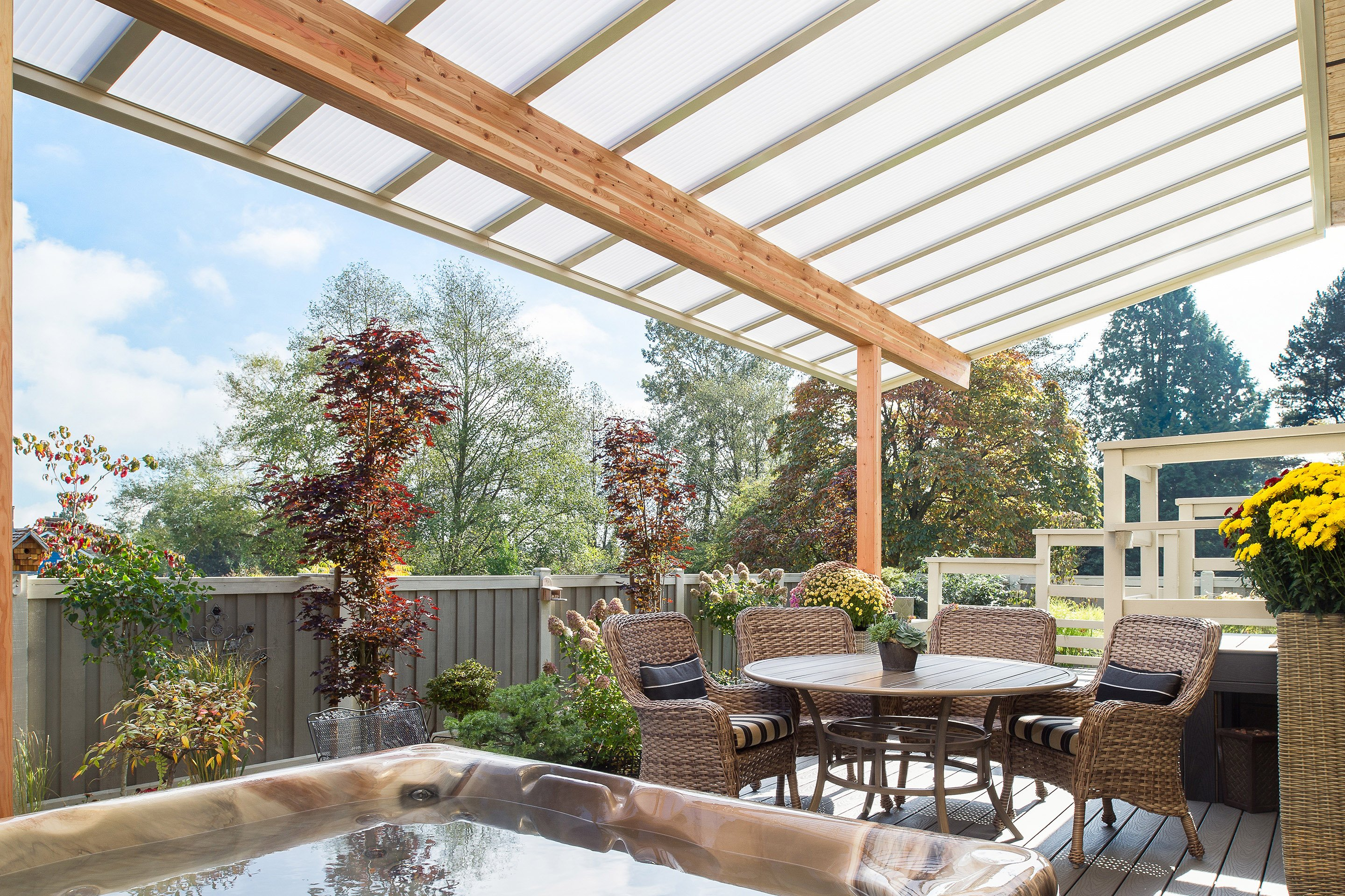 patio cover, natural light patio cover, acrylic patio cover, wood patio cover, patio awning, awning, patio awning, sun deck, patio cover over hot tub, hot tub protection, pergola, sundeck, outdoor living space
