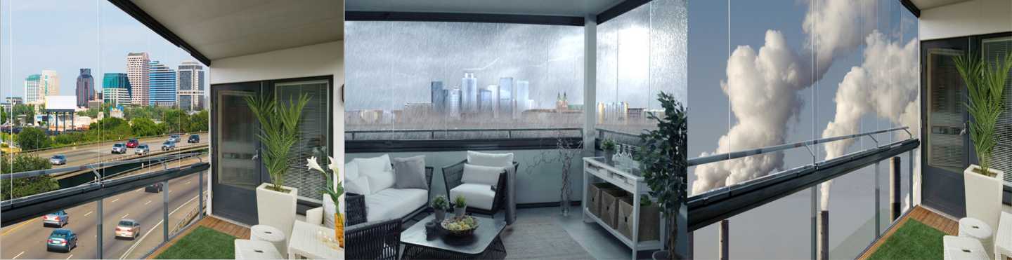 Lumon glass curtains protect