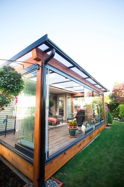 Coquitlam sunrooms, wood patio cover, wood framed sunroom, glass sunroom that opens, openable sunroom, porch enclosure Coquitlam