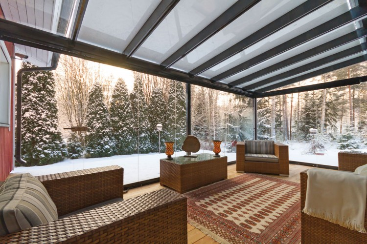 covered patio, glass covered patio, covered porch, glass covered porch, winter glass enclosure, patio cover in winter, snow on patio cover