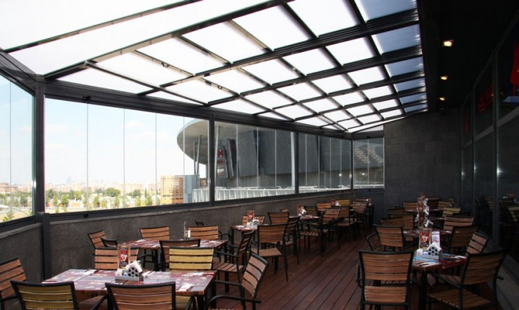 Restaurant patio enclosures for The balcony cafe