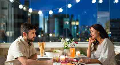 A romantic dinner on the balcony