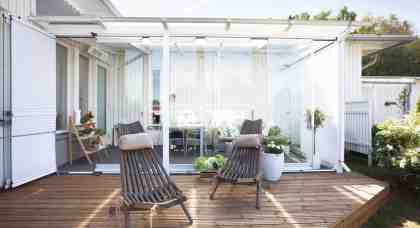 Glass curtains for terraces