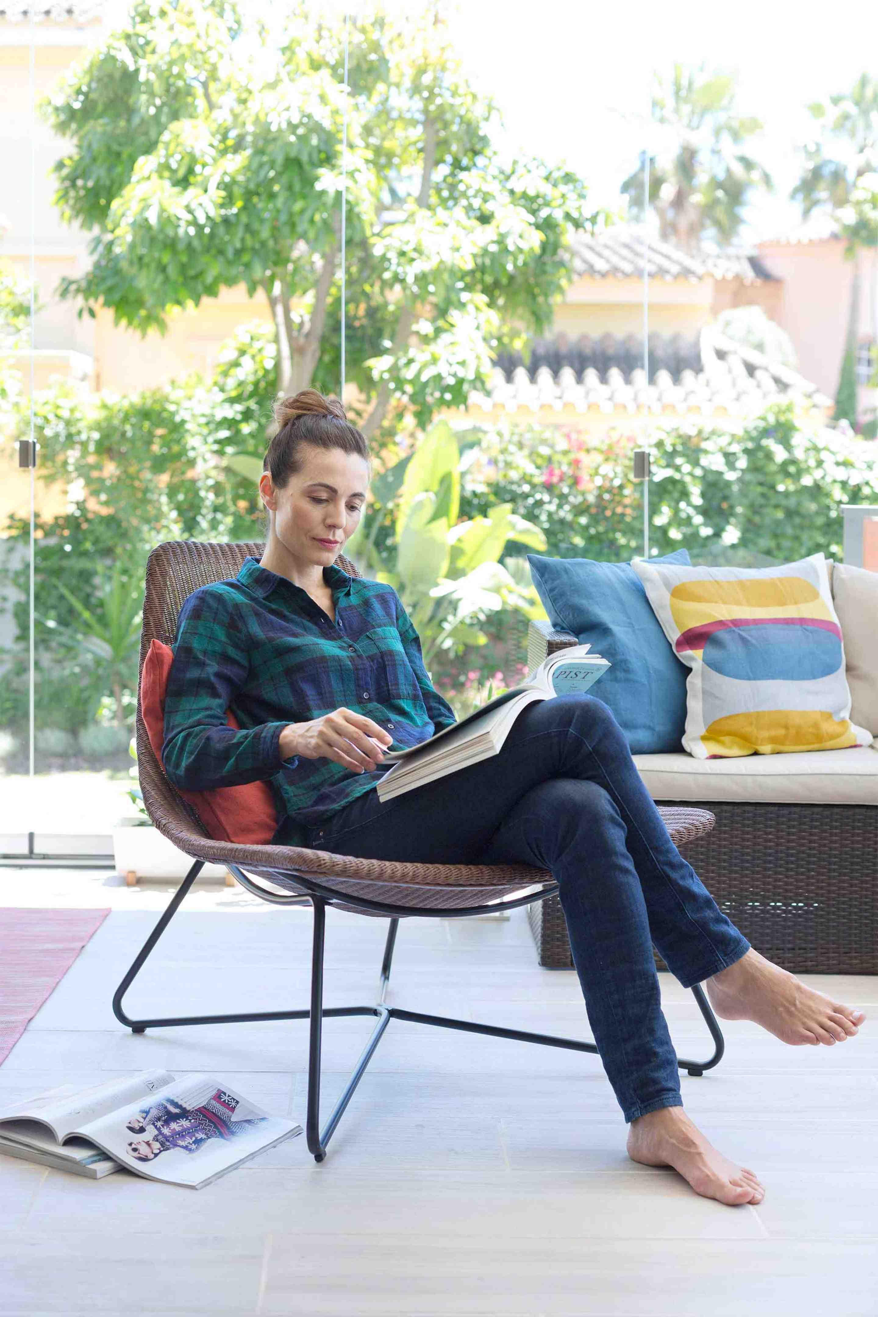 Reading on the terrace glazing