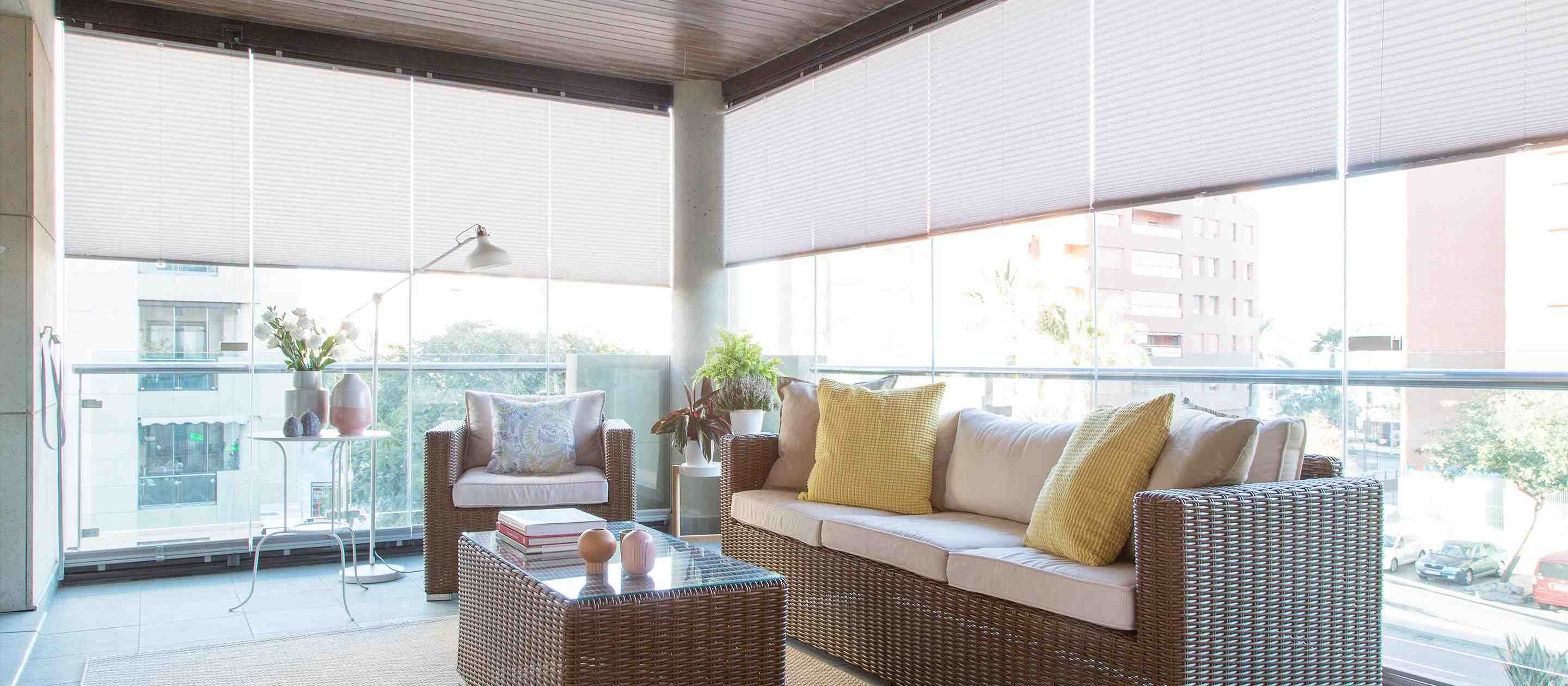 Balcony with glass curtains and Lumon shades