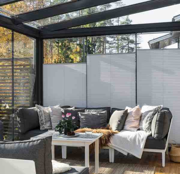 sunroom privacy, sunroom screens, blinds for windows, elegant blinds, sun protection